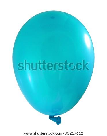 Cyan balloon isolated on white background - stock photo
