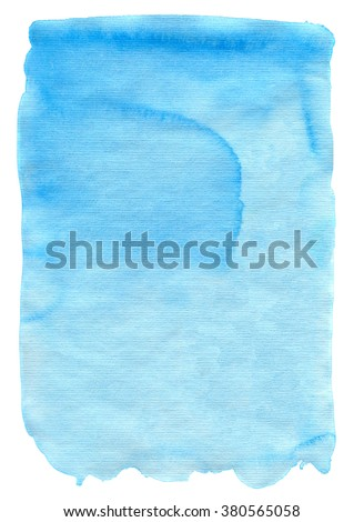 Cyan blue watercolor texture  for backgrounds and designs - stock photo