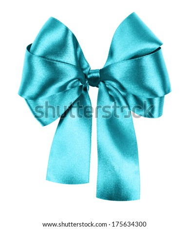 cyan bow made from silk ribbon