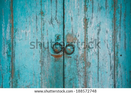 cyan colored door
