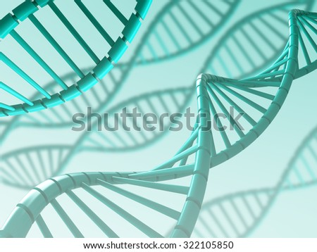 Cyan Dna structure with blurry background, 3D illustration. - stock photo