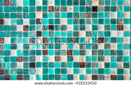 Cyan glass mosaic tiles - stock photo