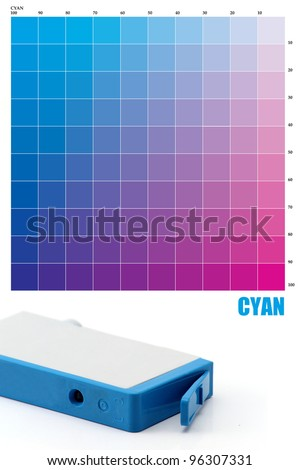 CYAN Ink color - stock photo