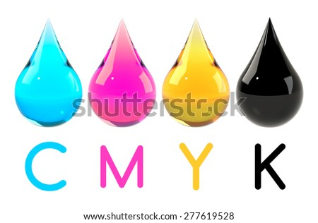 Cyan, magenta, yellow and black drops set isolated on white. Printer ink or color scheme concept. Realistic illustration. - stock photo