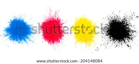cyan, magenta, yellow and black toner on white background - stock photo
