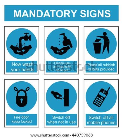 Cyan mandatory safety sign set isolated on white background - stock photo