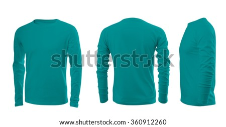Cyan men's T-shirt with long sleeves with rear and side views on a white background