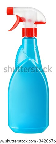 Cyan plastic dispenser / studio photography of spray multipurpose cleaner - isolated on white background - stock photo