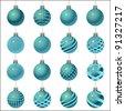 cyan set of Christmas ornament - stock vector