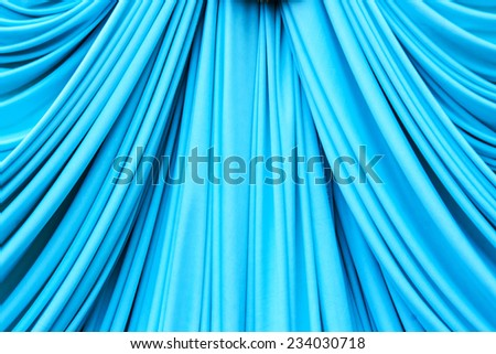 Cyans blue curtain texture for background - stock photo