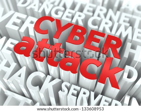 Cyber Attack Concept. The Word of Red Color Located over Text of White Color.