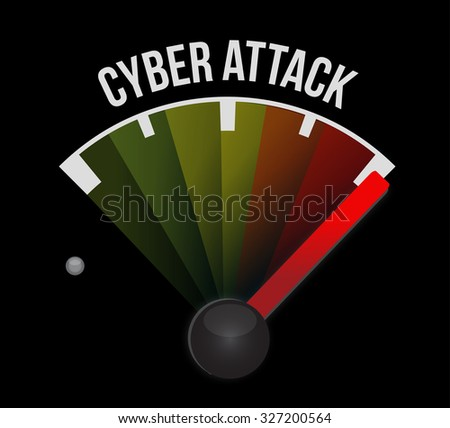 cyber attack meter sign concept illustration design graphic - stock photo