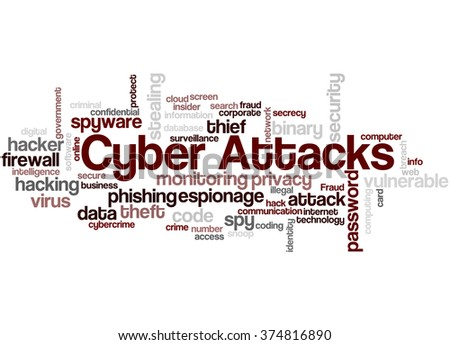 Cyber Attacks, word cloud concept on white background. - stock photo