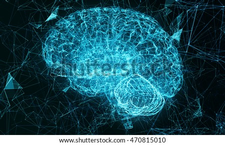 Cyber brain. Artificial intelligence. Triangulation the technology of the brain. Render illustration of the human brain.
