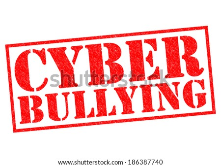 CYBER BULLYING red Rubber Stamp over a white background. - stock photo