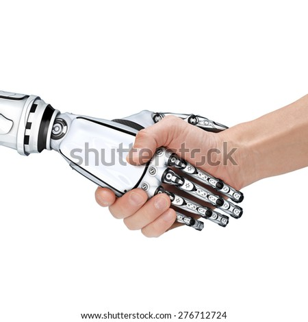 Cyber communication design concept. Male robot and human holding hands with handshake. - stock photo