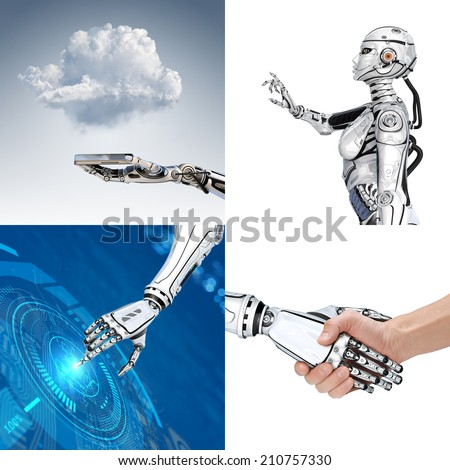Cyber communication design set. Robot and human communications - stock photo