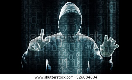 Cyber crime in network, spy stealing important data