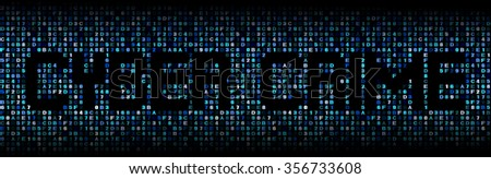 Cyber crime text on hex code illustration - stock photo
