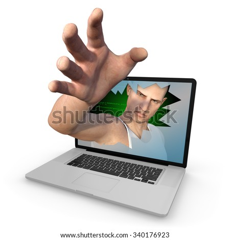 Cyber criminal reaches out of laptop screen with outstretched open to grab whatever he can. Isolated against a clean white background - Photorealistic 3D render