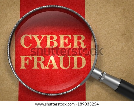Cyber Fraud Through Magnifying Glass on Old Paper with Red Vertical Line Background. - stock photo
