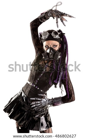 Cyber Gothic girl posing isolated in white