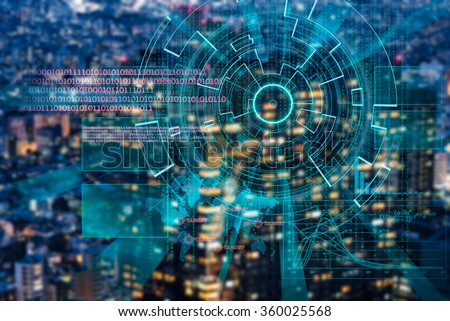 cyber laser target on a dark night city blurred background - stock photo