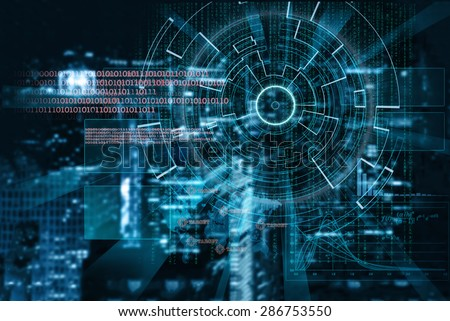 cyber laser target on a night city blurred background - stock photo