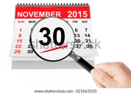 Cyber Monday Concept. 26 November 2015 calendar with magnifier on a white background - stock photo