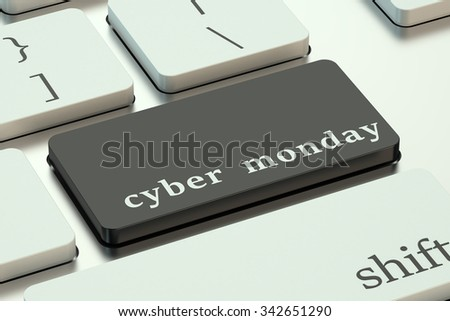 Cyber Monday concept  on the keyboard - stock photo
