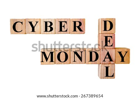 Cyber Monday Deal deal message. Wooden small cubes with letters isolated on white background with copy space available. Retail Sales Concept image. - stock photo