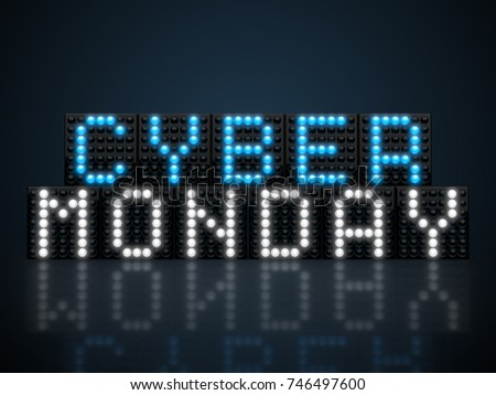 Cyber Monday LED display glowing on dark background 3D render