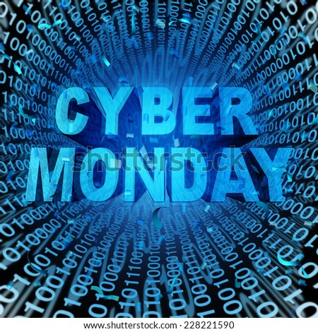 Cyber monday sale symbol and online sales concept as an internet holiday celebration for product discounts on websites.