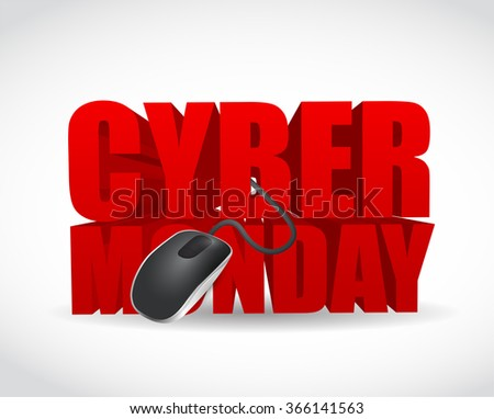 cyber monday sign and mouse. illustration design over white