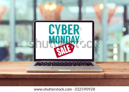 Cyber Monday sign on laptop computer. Holiday online shopping concept. View from above - stock photo
