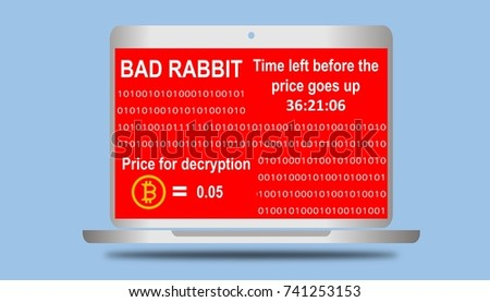 Cyber security concept. Illustration of bad rabbit ransomware, malware threat extortionist computer screen red window and price for decryption