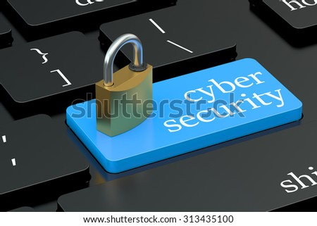 Cyber Security concept on keyboard button - stock photo