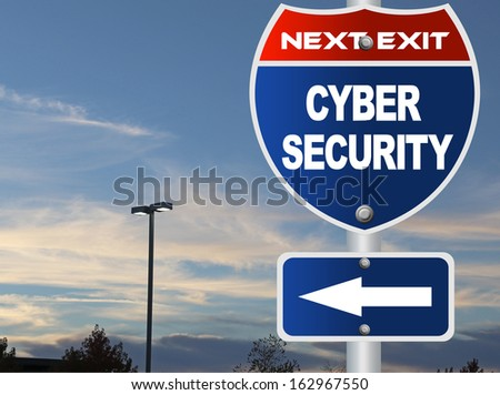 Cyber security road sign - stock photo
