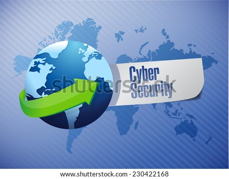 cyber security sign illustration design over a world map background - stock photo