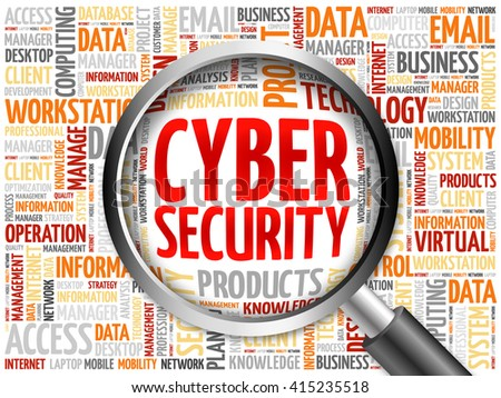 Cyber Security word cloud with magnifying glass, business concept - stock photo
