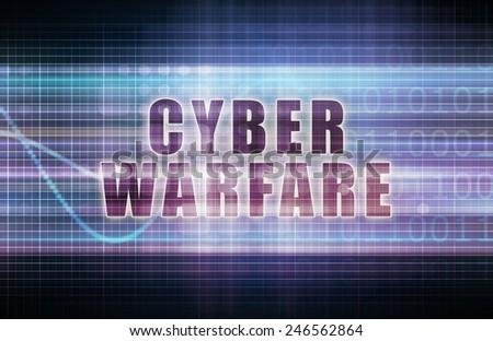 Cyber Warfare on a Tech Business Chart Art - stock photo
