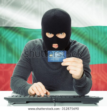 Cybercrime concept with flag on background - Bulgaria