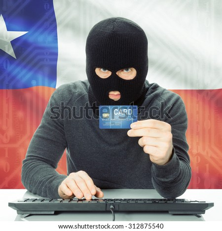 Cybercrime concept with flag on background - Chile