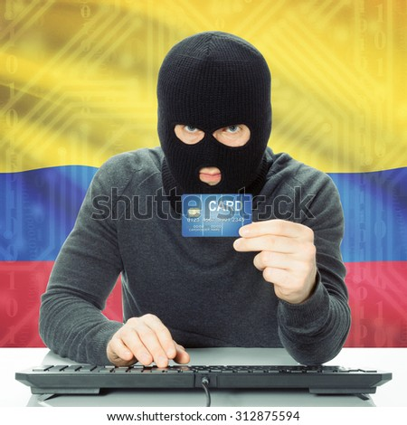 Cybercrime concept with flag on background - Colombia