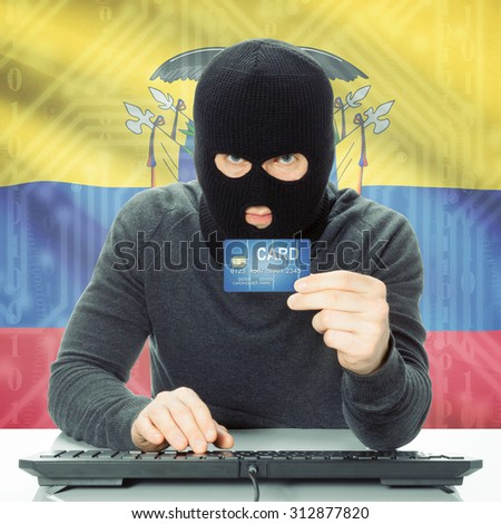 Cybercrime concept with flag on background - Ecuador