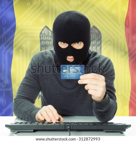 Cybercrime concept with flag on background - Moldova
