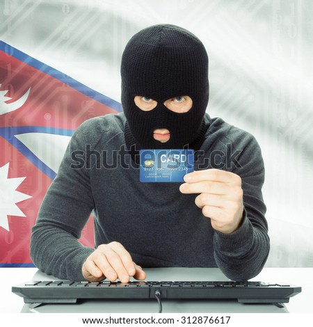 Cybercrime concept with flag on background - Nepal