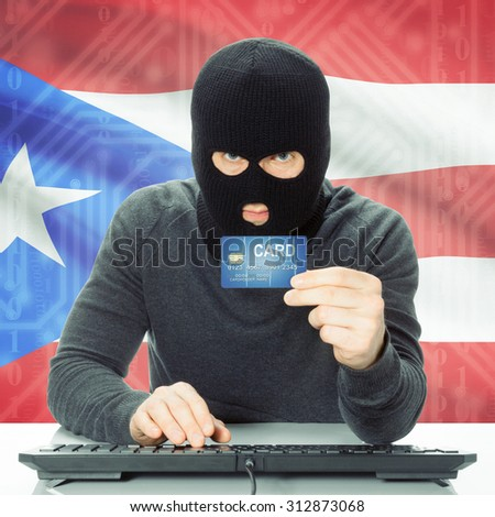 Cybercrime concept with flag on background - Puerto Rico