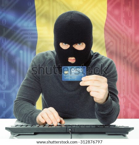 Cybercrime concept with flag on background - Romania