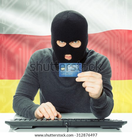 Cybercrime concept with flag on background - South Ossetia